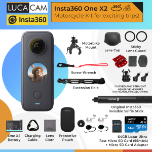 Insta360 One X2 Motorcycle Bundle. Capture photo and videos in 360 degree.